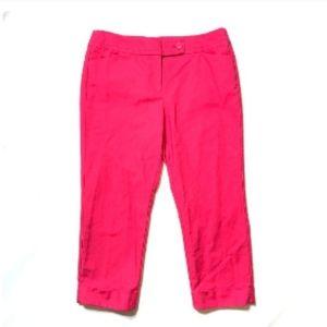 Ann Taylor Signature Hibiscus pink capri pants